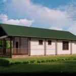 Проект одноэтажного дома из бруса в чашу 14,5 х 7,5 м «Кустово» - с террасой (2)
