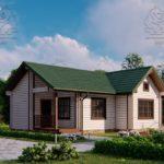 Проект одноэтажного дома из бруса в чашу 14,5 х 7,5 м «Кустово» - с террасой (4)