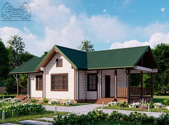 Проект одноэтажного дома из бруса в чашу 14,5 х 7,5 м «Кустово» - с террасой (обложка)