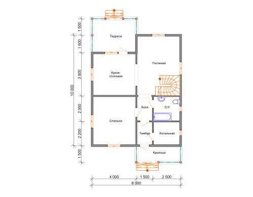 дом из бруса 10 на 8 план 1 этажа княжево