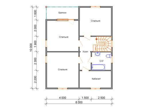 дом из бруса 10 на 8 план 2 этажа княжево