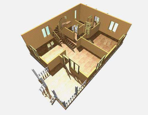 дом из бруса 10 на 8 разрез 1 этажа княжево