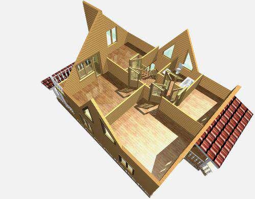дом из бруса 10 на 8 разрез 2 этажа княжево
