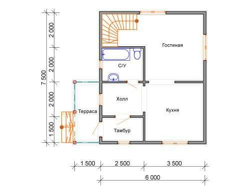 дом из бруса 6 на 7,5 план 1 этажа лукино