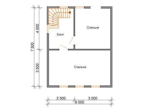 дом из бруса 6 на 7,5 план 2 этажа лукино