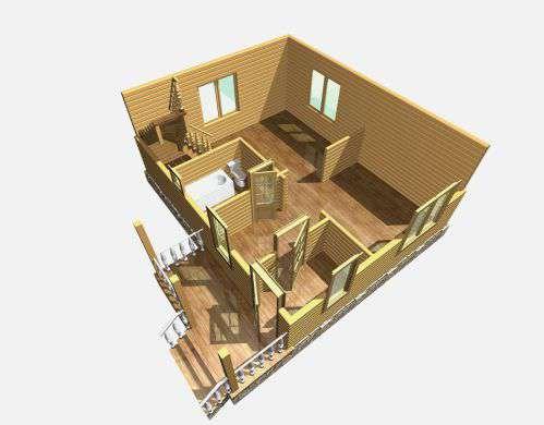 дом из бруса 6 на 7,5 разрез 1 этажа лукино