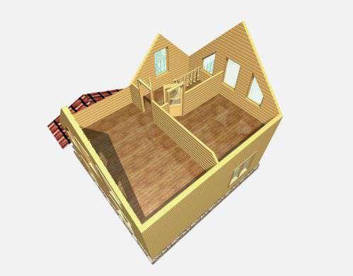 дом из бруса 6 на 7,5 разрез 2 этажа лукино