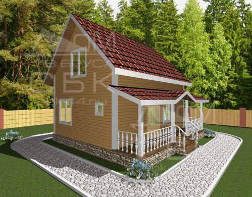Проект дома из бруса 6 х 8 м «Борисово» - фасад 2