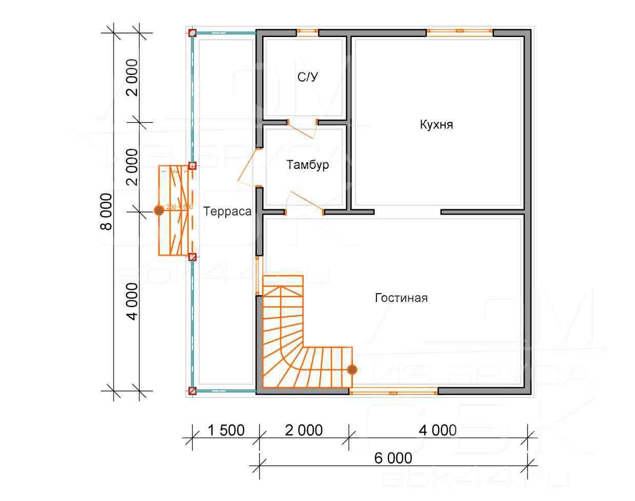 Проект дома из бруса 6 х 8 м «Борисово» - план 1 этаж