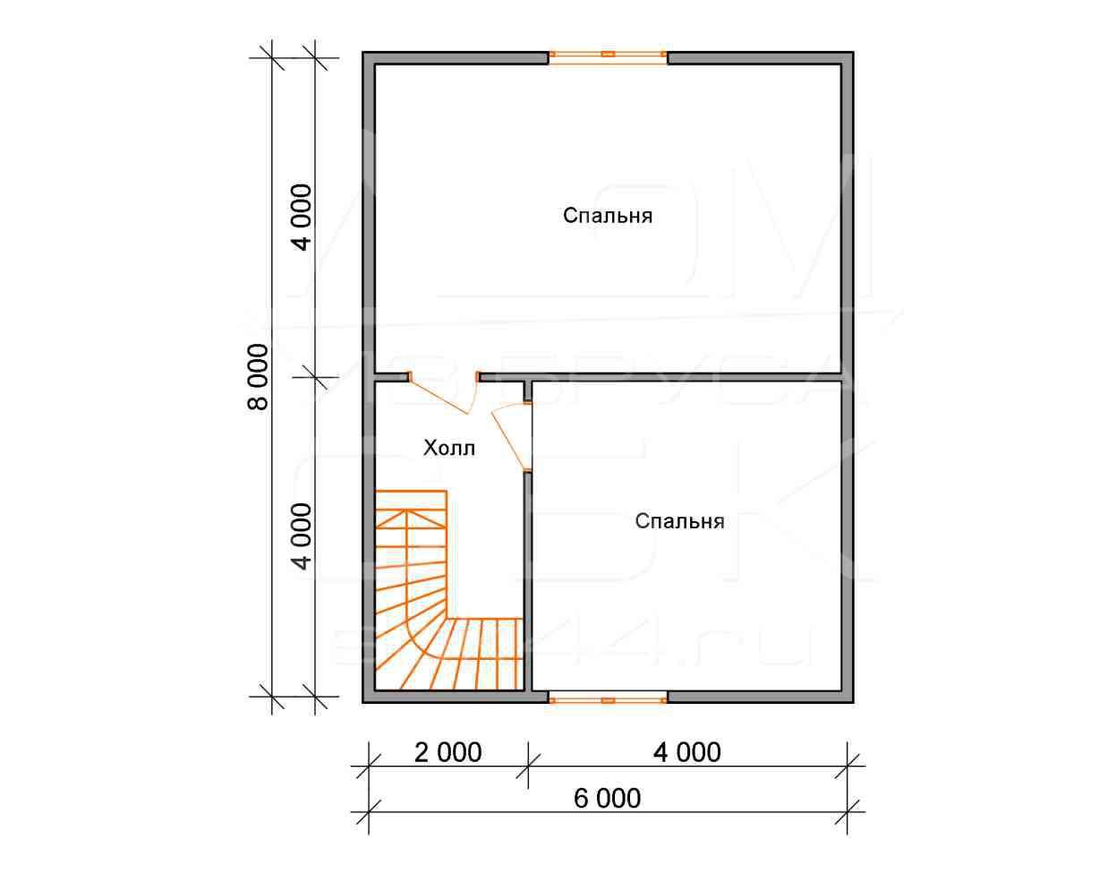 Проект дома из бруса 6 х 8 м «Борисово» - план 2 этаж