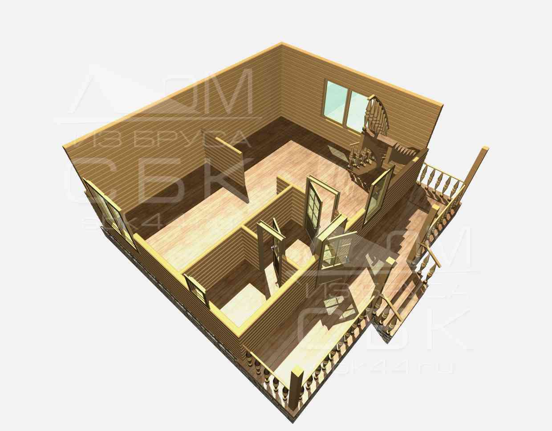 Проект дома из бруса 6 х 8 м «Борисово» - разрез 1 этаж