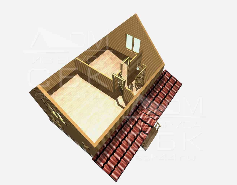 Проект дома из бруса 6 х 8 м «Борисово» - разрез 2 этаж