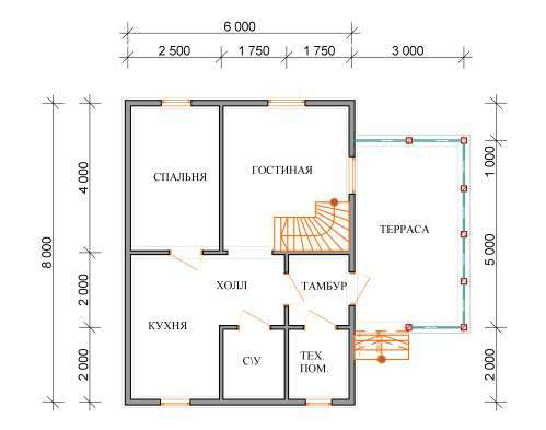 дом из бруса 6 на 8 план 1 этажа барское