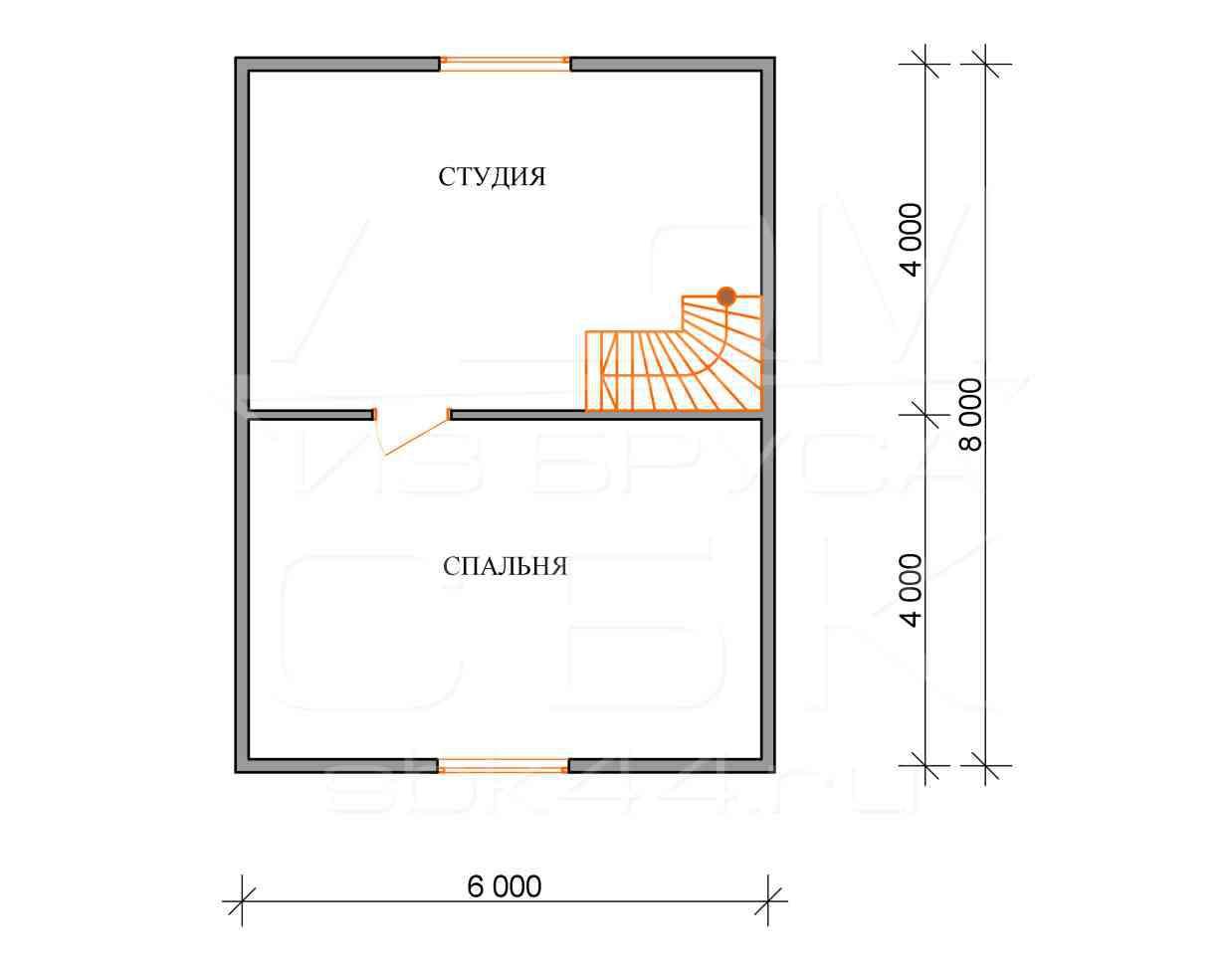 дом из бруса 6 на 8 план 2 этажа барское