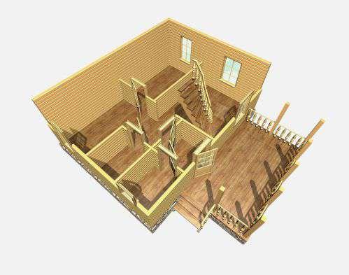 дом из бруса 6 на 8 разрез 1 этажа барское