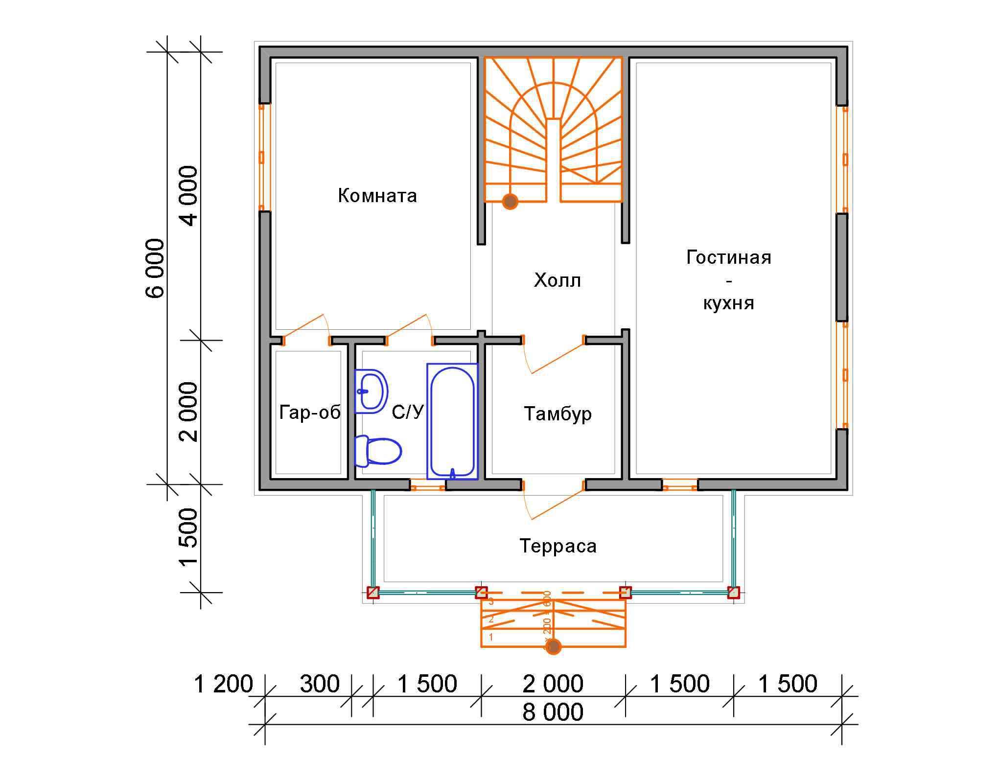 дом из бруса 6 на 8 план 1 этажа бородино