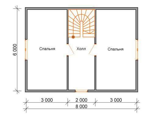 дом из бруса 6 на 8 план 2 этажа бородино