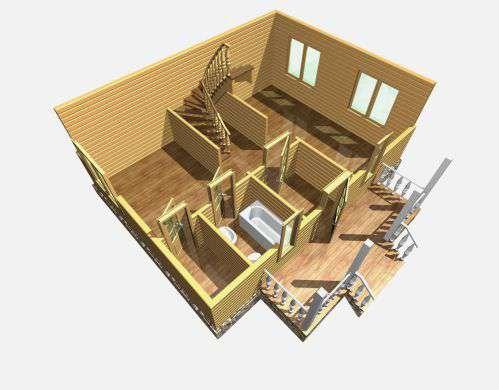 дом из бруса 6 на 8 разрез 1 этажа бородино