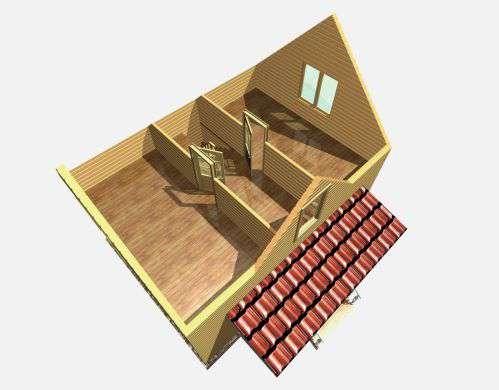 дом из бруса 6 на 8 разрез 2 этажа бородино