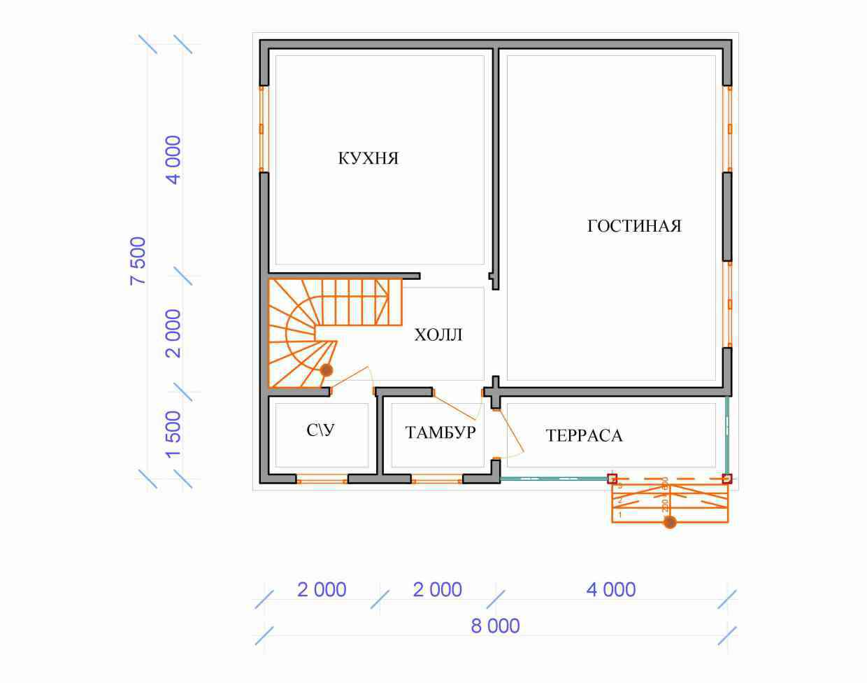 Проект дома из бруса 7,5 х 8 м «Березово» - план 1 этажа