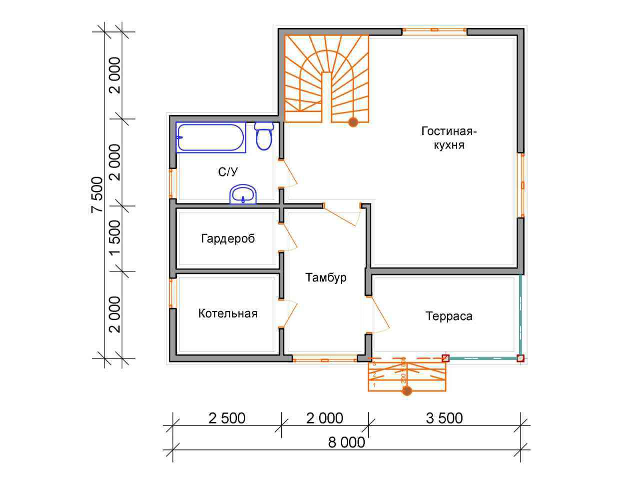 Проект дома из бруса 7,5 х 8 м «Васильевское» - план 1 этаж