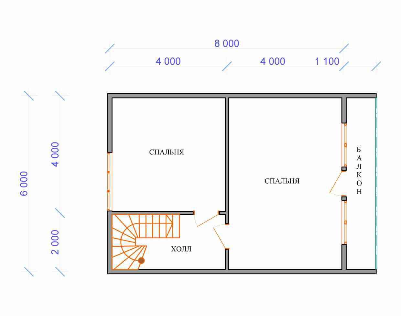 Проект дома из бруса 7,5 х 8 м «Березово» - план 2 этажа