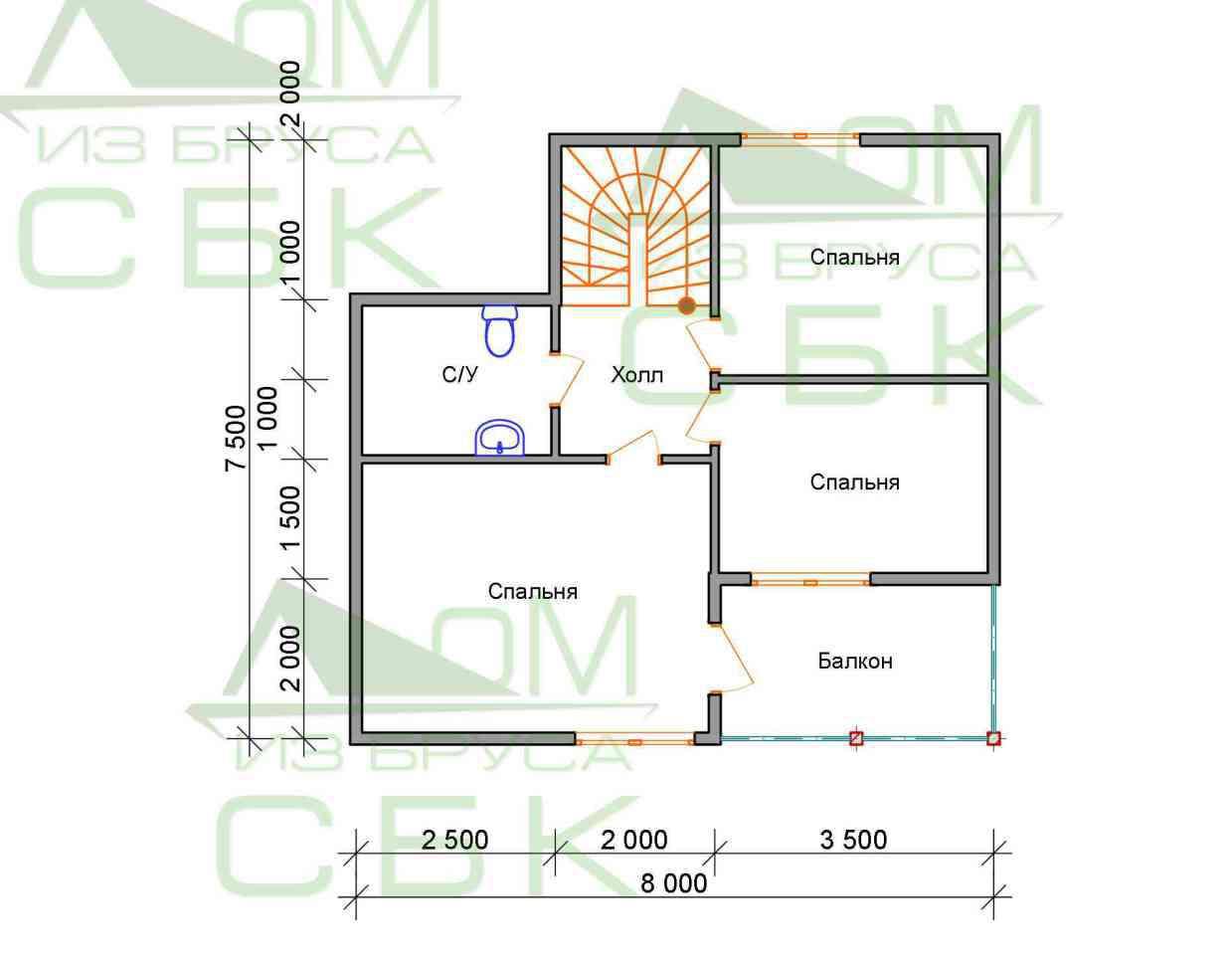 Проект дома из бруса 7,5 х 8 м «Васильевское» - план 2 этаж