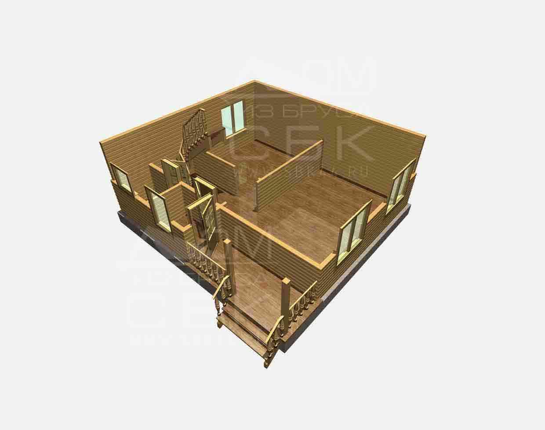 Проект дома из бруса 7,5 х 8 м «Березово» - разрез 1 этажа