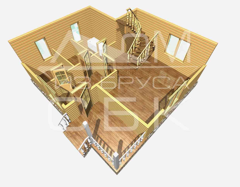 Проект дома из бруса 7,5 х 8 м «Васильевское» - разрез 1 этаж