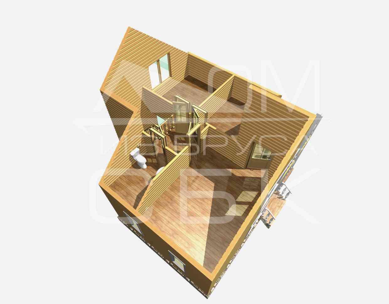 Проект дома из бруса 7,5 х 8 м «Васильевское» - разрез 2 этаж