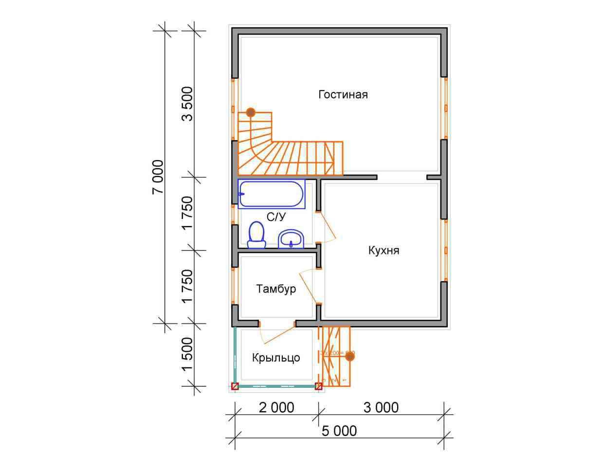 дом из бруса 7 на 5 план 1 этажа гольцово