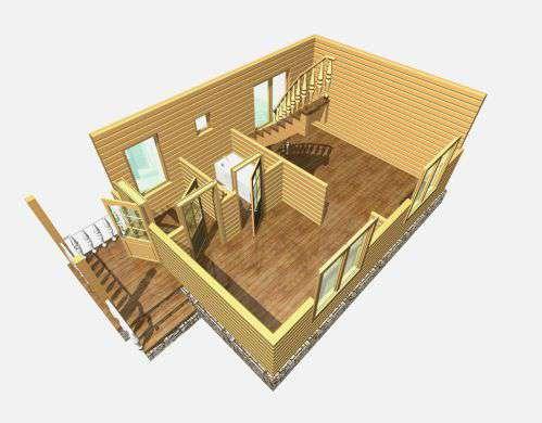 дом из бруса 7 на 5 разрез 1 этажа гольцово