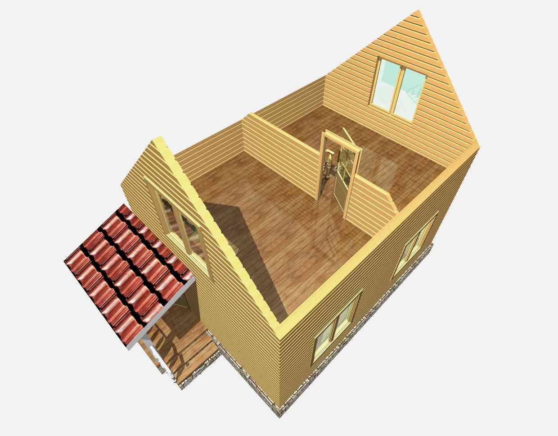 дом из бруса 7 на 5 разрез 2 этажа гольцово