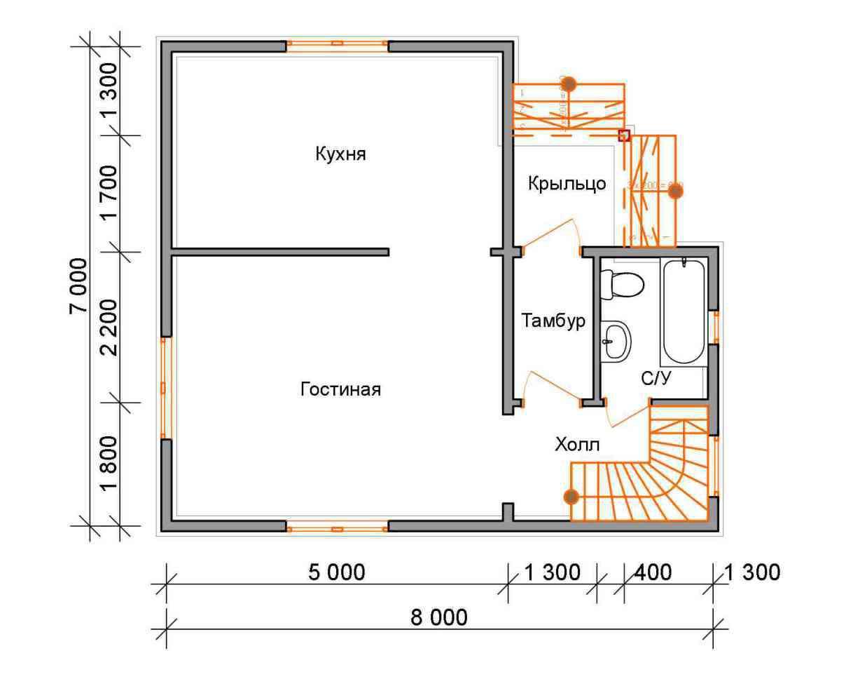 дом из бруса 7 на 8 план 1 этажа гущино