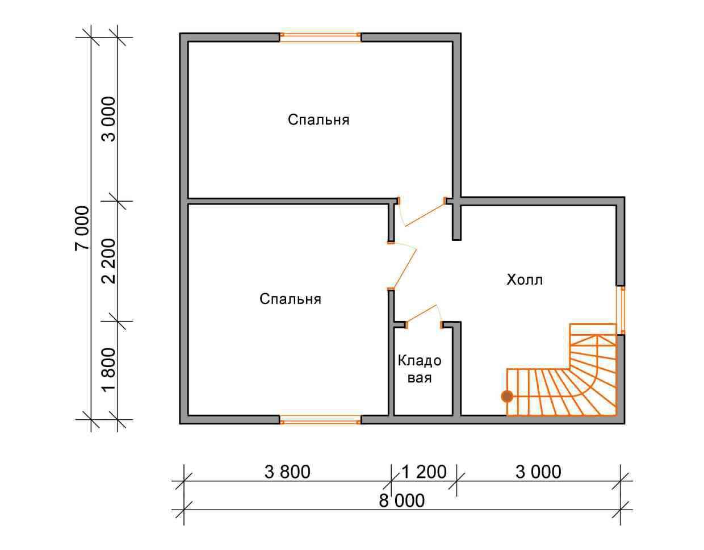 дом из бруса 7 на 8 план 2 этажа гущино