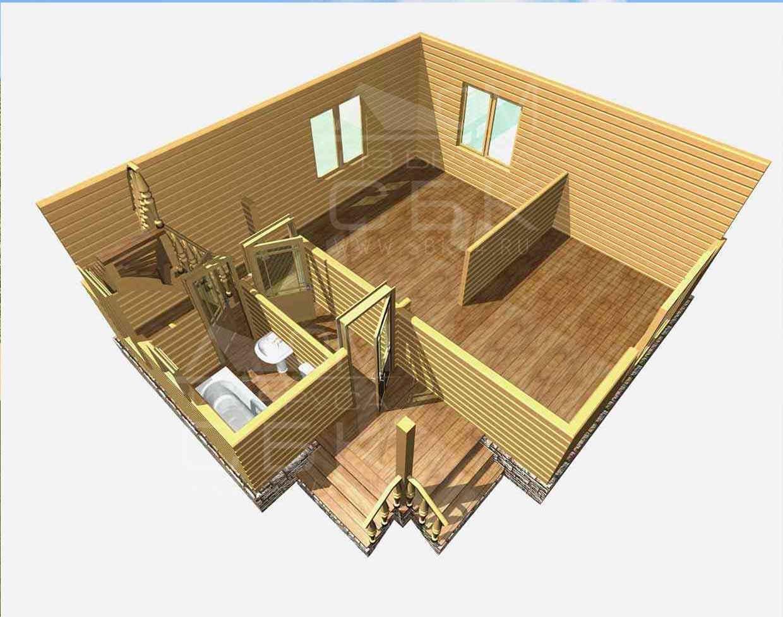 дом из бруса 7 на 8 разрез 1 этажа гущино