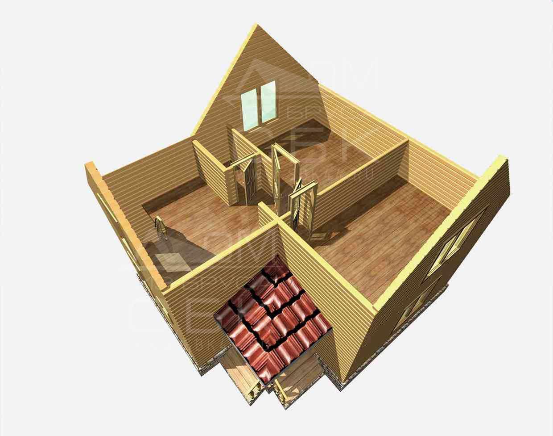 дом из бруса 7 на 8 разрез 2 этажа гущино
