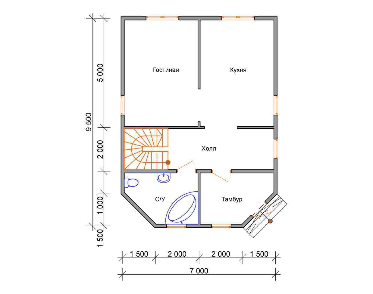 дом из бруса 7 на 9,5 план 1 этажа григорьевское