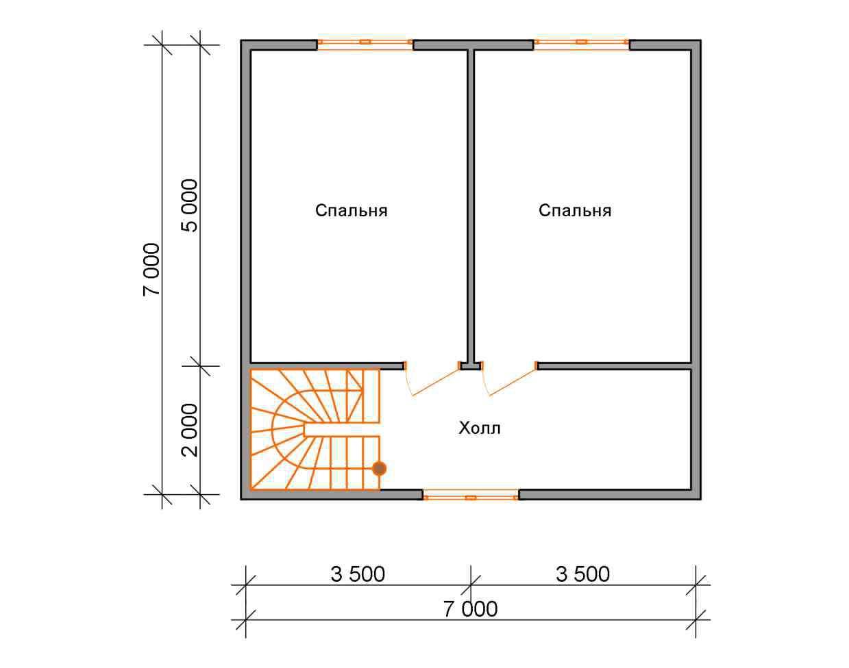 дом из бруса 7 на 9,5 план 2 этажа григорьевское