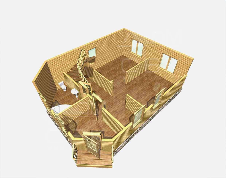 дом из бруса 7 на 9,5 разрез 1 этажа григорьевское