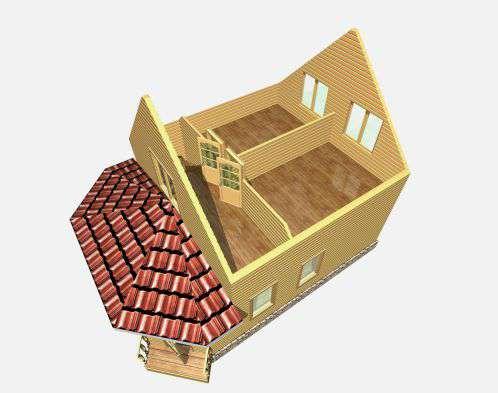 дом из бруса 7 на 9,5 разрез 2 этажа григорьевское