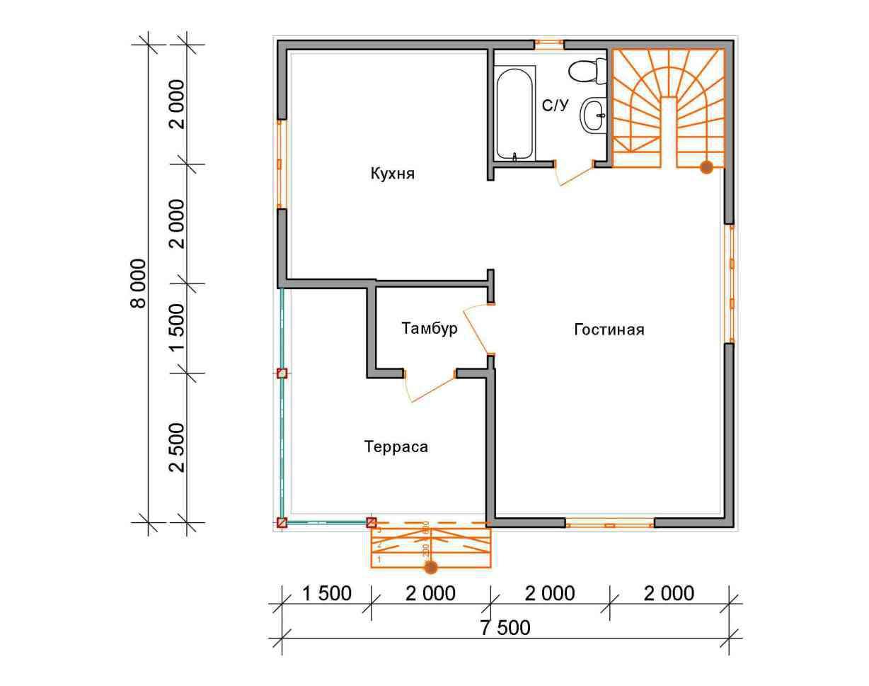 дом из бруса 8 на 7,5 разрез 1 этажа заболотье