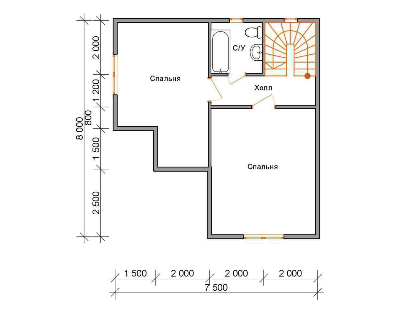 дом из бруса 8 на 7,5 план 2 этажа заболотье