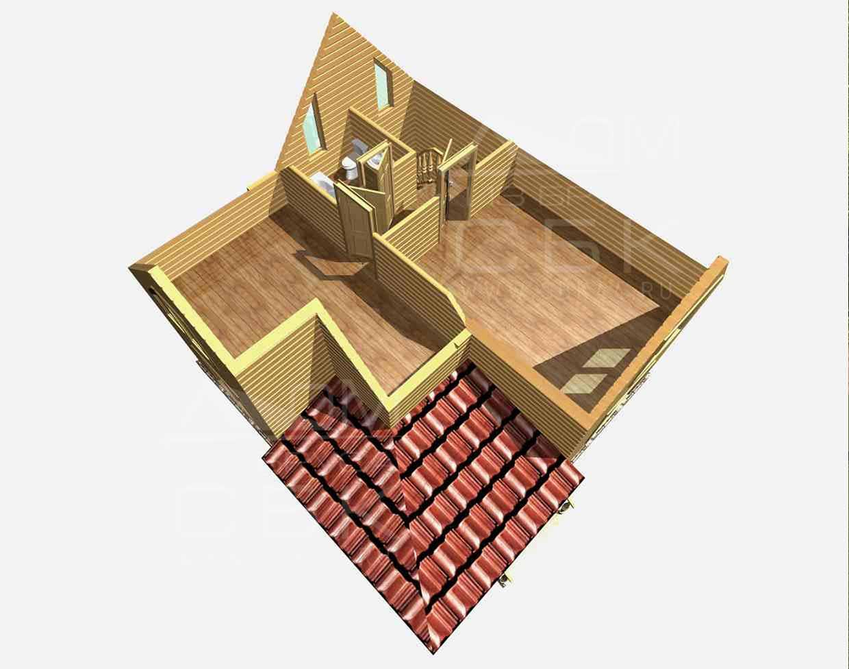 дом из бруса 8 на 7,5 разрез 2 этажа заболотье