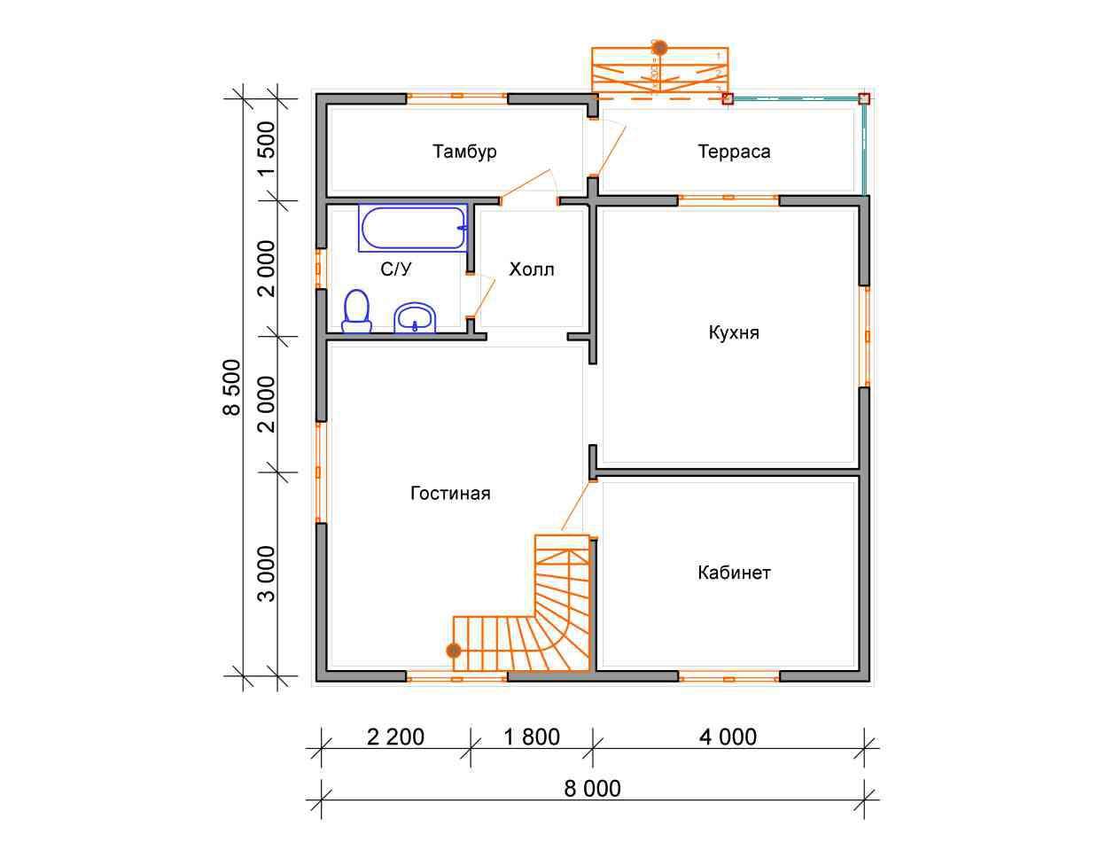 дом из бруса 8,5 на 8 план 1 этажа есипово