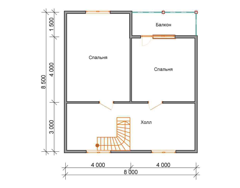 дом из бруса 8,5 на 8 план 2 этажа есипово