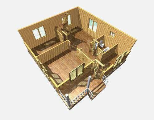 дом из бруса 8,5 на 8 разрез 1 этажа есипово