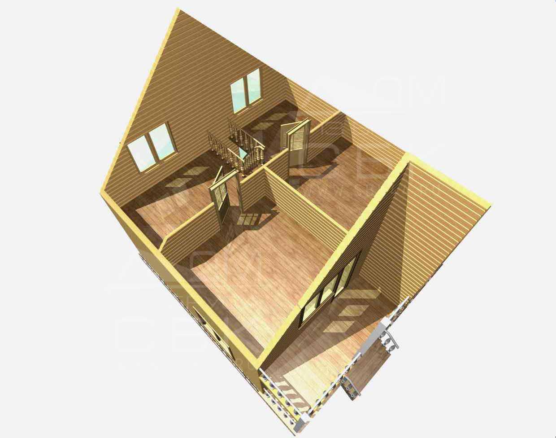дом из бруса 8,5 на 8 разрез 2 этажа есипово
