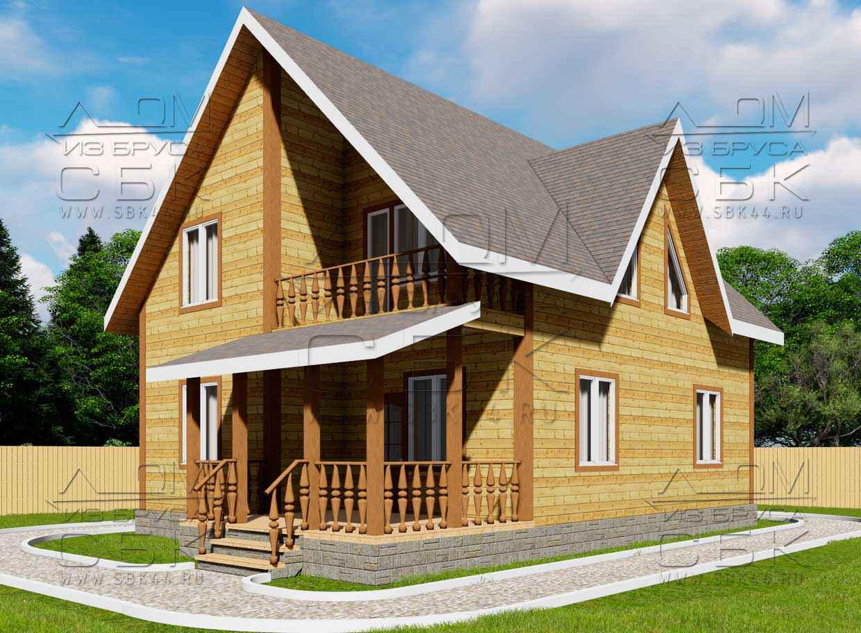 Проект дома из бруса 10 х 8 м «Княжево» - фасад 1