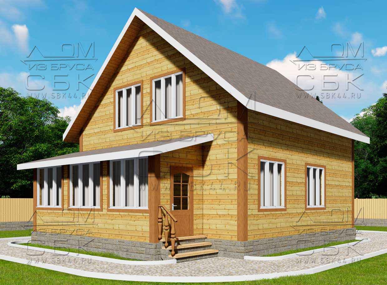 Проект дома из бруса 12 х 8 м «Аксеново» - фасад 1